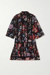 Marchesa Notte - Velvet-trimmed Appliquéd Embroidered Tulle Midi Dress - Blush