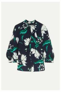 Erdem - Arlette Twist-front Floral-print Crepe Blouse - Navy
