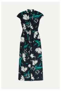 Erdem - Finn Belted Floral-print Crepe Midi Dress - Navy