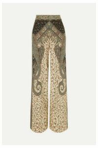 Etro - Printed Silk Wide-leg Pants - Beige