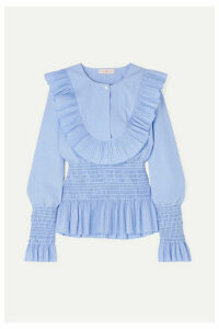 Tory Burch - Smocked Ruffled Cotton Blouse - Light blue