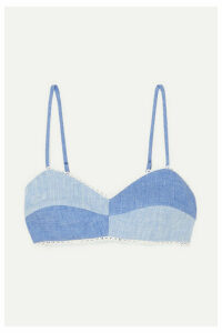Miguelina - Crochet-trimmed Two-tone Linen-chambray Bralette - Azure