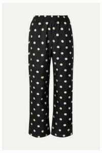 Stine Goya - Debra Cropped Floral-jacquard Straight-leg Pants - Black