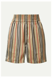 Burberry - Striped Silk-satin Shorts - Sand