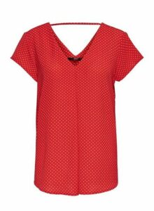 Womens **Only Red Polka Dot T-Shirt, Red