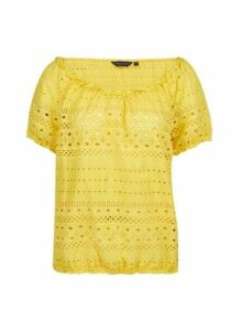 Womens Yellow Broderie Milkmaid Top, Yellow