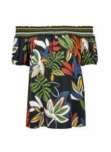 Womens Black Tropical Print Shirred Bardot Top - Multi Colour, Multi Colour