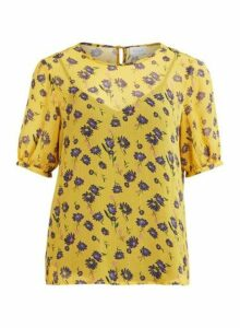 Womens **Vila Yellow Floral Print Blouse, Yellow