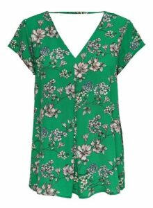 Womens **Only Green Floral Print V-Neck T-Shirt, Green