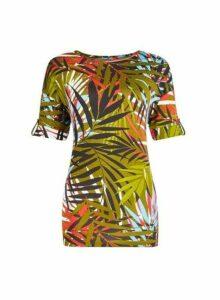 Womens Tall Khaki Palm Print Utility T-Shirt, Khaki