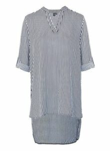 Womens Izabel London Navy Striped Oversized Shirt, Navy