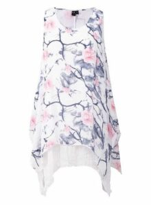 Womens *Izabel London White Floral Print Longline Top- Multi Colour, Multi Colour