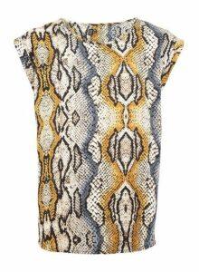 Womens Izabel London Multi Colour Snake Print Boxy Top, Multi Colour