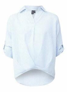 Womens *Izabel London Blue Stripe Print Twist Front Cotton Shirt, Blue