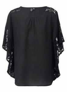 Womens *Izabel London Black Lace Sleeve Top, Black