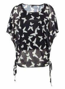 Womens *Izabel London Multi Colour Butterfly Tie Back Top- Black, Black