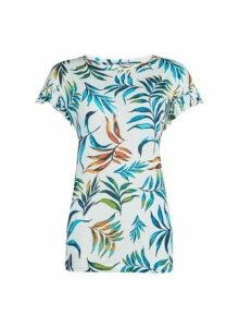 Womens Tall Palm Print Ruffle Cotton T-Shirt - Ivory, Ivory