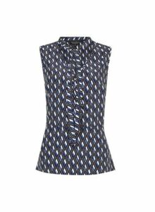 Womens Navy Printed Wrap Tie Neck Top - Blue, Blue