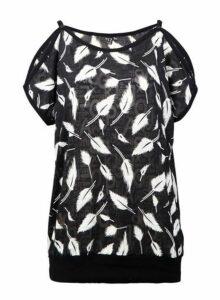 Womens *Izabel London Black Feather Print Top, Black