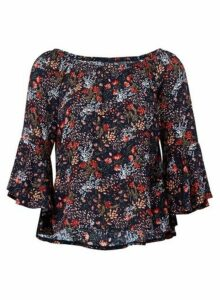 Womens *Izabel London Navy Ditsy Floral Print Frill Top, Navy
