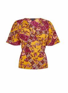 Womens Multi Colour Flutter Sleeve Wrap Top - Orange, Orange