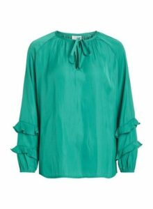 Womens Vila Green Tie Neck Blouse, Green