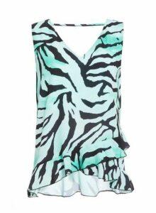 Womens *Quiz Green Zebra Print V-Neck Top, Green