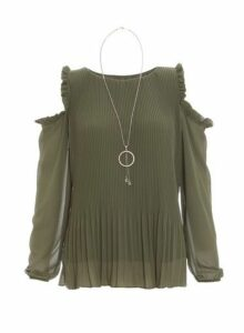 Womens *Quiz Khaki Cold Shoulder Top, Khaki