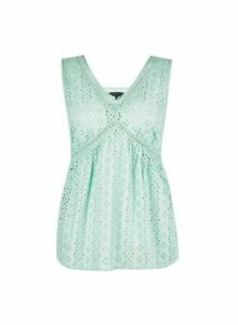 Womens Green Broderie Cotton Top, Green