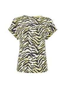 Womens Zebra Print Button T-Shirt - Multi Colour, Multi Colour