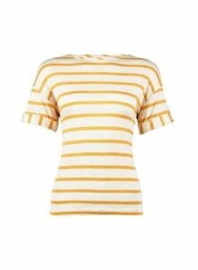 Womens Petite Stripe Print Utility T-Shirt- Yellow, Yellow