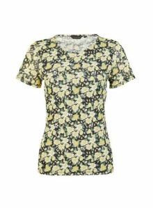 Womens Multi Colour Ditsy Print Mesh Short Sleeve Top - Yellow, Yellow