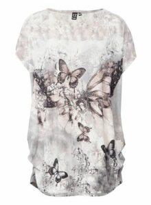 Womens Izabel London Grey Butterfly Print T-Shirt, Grey