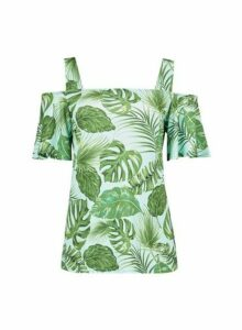 Womens Tall Tropical Print Cold Shoulder Top - Green, Green