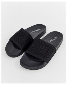 ASOS DESIGN Flipside knitted pool sliders in black