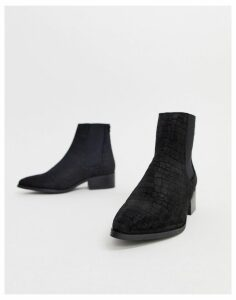 Vero Moda snake embossed real suede boots-Black