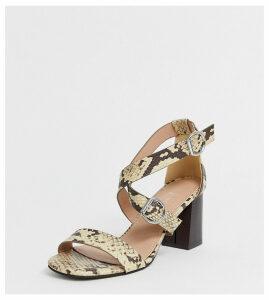New Look wide fit pu multi strap block heeled sandal in animal print-Stone