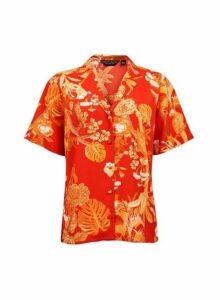 Womens Red Parrot Print Pyjama Shirt, Red
