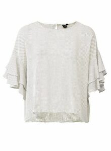 Womens *Izabel London White Frill Sleeve Blouse, White