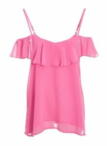 Womens *Quiz Pink Cold Shoulder Frill Top, Pink