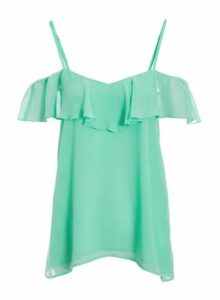 Womens *Quiz Mint Cold Shoulder Frill Top, Mint