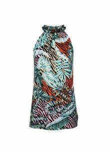 Womens **Tall Multi Colour Zebra Print Halter Neck Top, Multi Colour