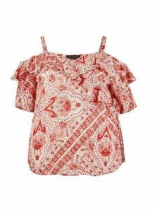Womens **Dp Curve Pink Paisley Print Crinkle Wrap Top, Pink