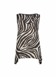 Womens Zebra Print Hanky Hem Top- Black, Black