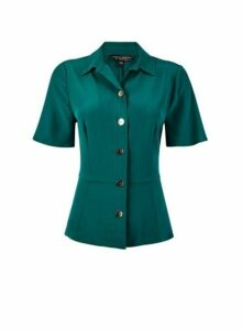 Womens Green Fitted Utility Shirt, Green