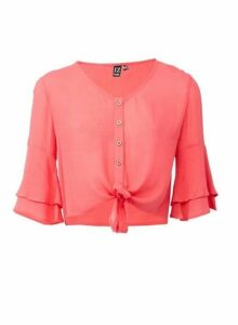 Womens *Izabel London Coral Tie Front Top, Coral