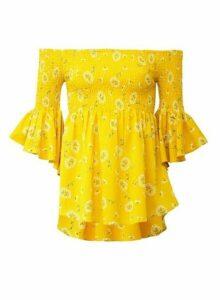 Womens *Izabel London Yellow Floral Print Bardot Top, Yellow
