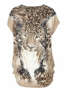 Womens Izabel London Multi Coloured Leopard Print T-Shirt, Multi Colour