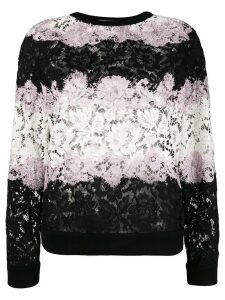 Valentino Lace applique stripe sweater - Black