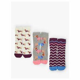 John Lewis & Partners Sausage Dog Ankle Socks, Pack of 3, Multi